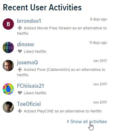 alternativeto page log