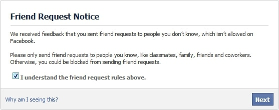 Facebook too many friend requests