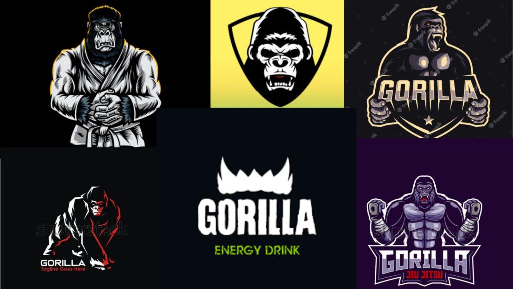 Aggressive gorilla logos